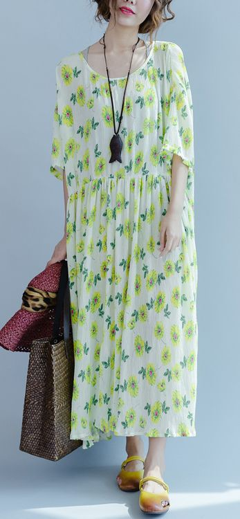 early summer floral dresses oversize pleated maxi dresses casual baggy caftans sundresses 2017 collection