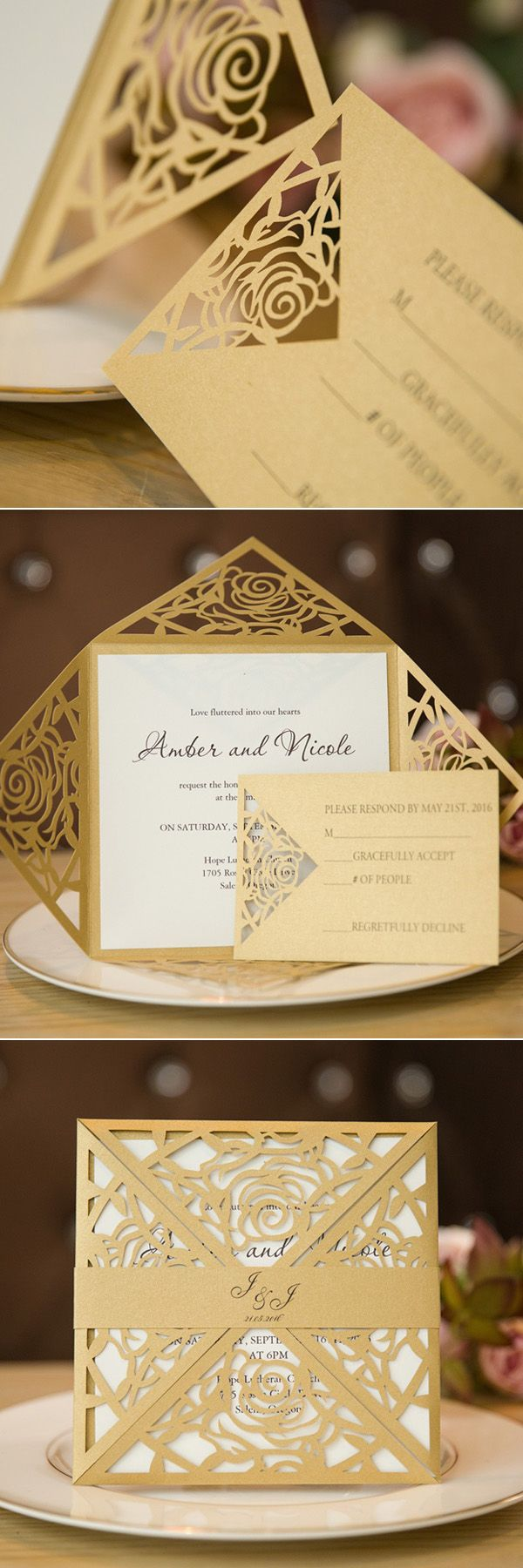 Unique Gold Rose Laser Cut Wedding Invitation