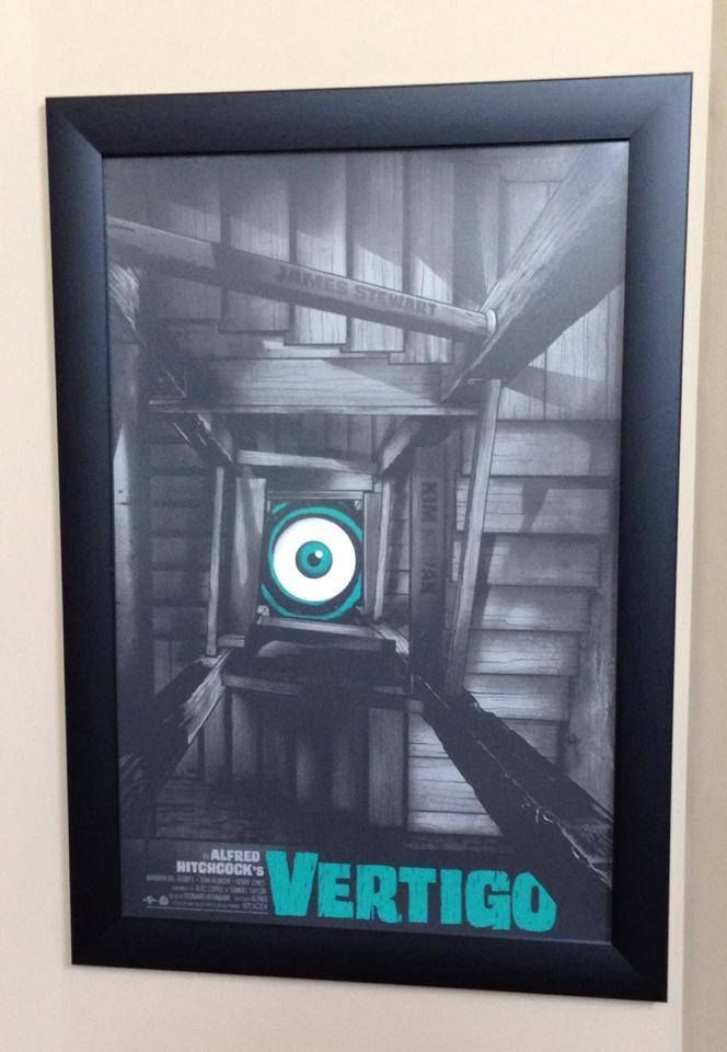 """Just got this in the Mail today! #Hitchcock's Vertigo by the Amazing @GhoulishGary in one of our 24"""" x 36"""" Wide Border Frames!  Love It!!!!!"""