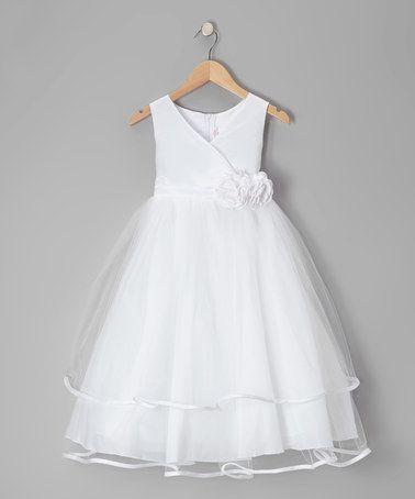 Love this White Embellished Surplice Dress - Toddler & Girls by Kid's Dream on #zulily! #zulilyfinds