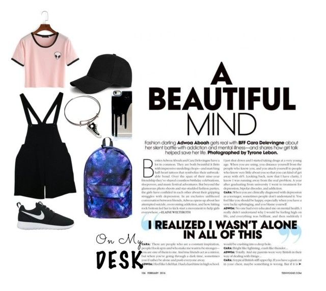 """Back to school outfit"" by chrysapan on Polyvore featuring American Apparel, NIKE, Converse and Boohoo"