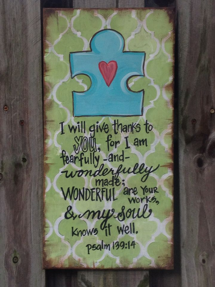 "AuTisM ArT! By Erinbearin on etsy Hand painted bible verse on canvas. ""Different ability"", sensory room art, classroom art, special needs ministry room art! Xoxo"