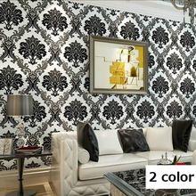 Moderne Hochwertige Vintage Europäischen Damast Tapetenrollen Design Beflockung Strukturierte Luxus Wand papier für hintergrund Wand R362(China (Mainland))