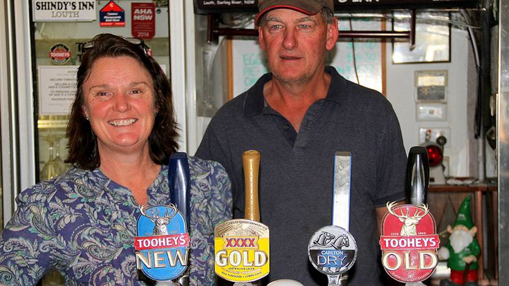 Cath & Dave Marrett sell beer, chocolates and insect repellent over the bar at their tiny pub on the Darling River. Out the front, they provide fuel & directions to visitors over dusty bonnets, with warnings to watch out for kangaroos and emus on the local dirt roads. They yarn with local graziers and shearers, they host meetings of the school P&C and the local cricket club. Shindy's Inn at Louth is just another typical bush pub in outback New South Wales. Perched on the levee bank, the p