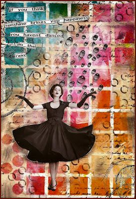 art journal page from Creativity blog ... Internet photo on top of created background ... stencil grid with Dylusions inking ... crystal drops ... delightful!!