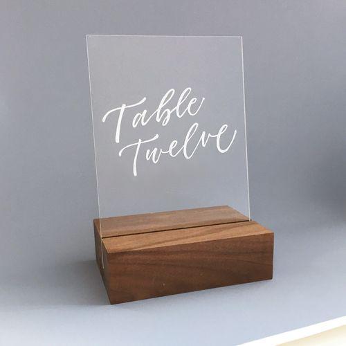 número de mesa acrílico
