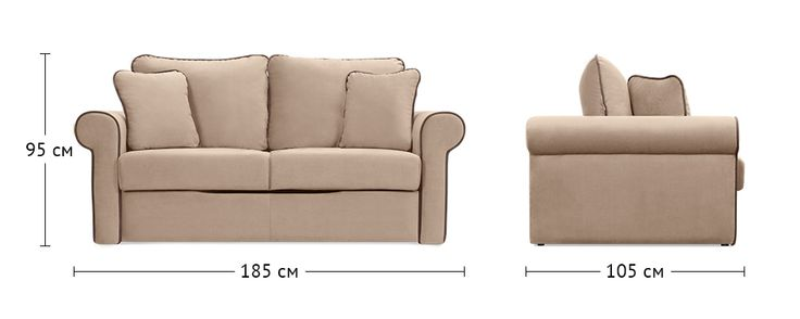 Купить диван Сохо Velure бежевый (Ткань) по цене 24 990 рублей 105х185х95