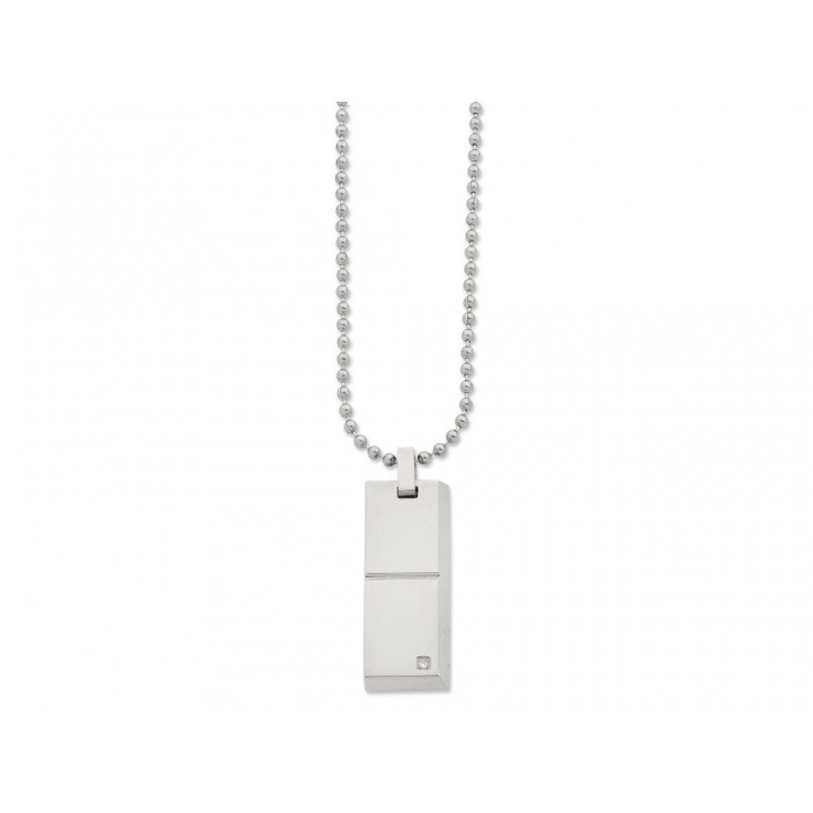 Stainless Steel Groove Rectangle Necklace