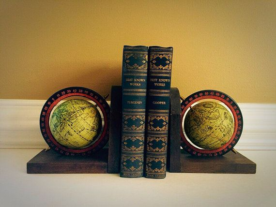 Old World Style Rotating Globe Bookends Set by FelixVintageMarket. Pin now & shop later.