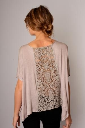 How: Cut the back of a shirt open, replace with doilies, sew back together.