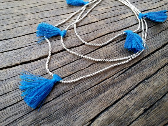 Silver Beaded Long Necklace 3 Strand Necklace by PiscesAndFishes