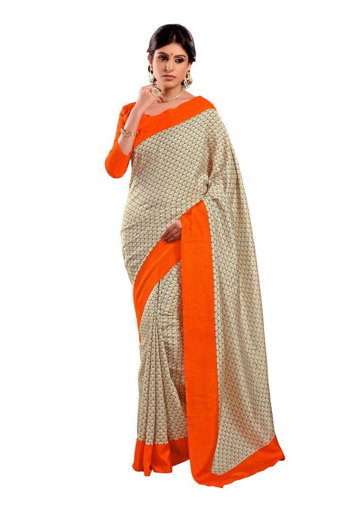 Fabdeal Traditional Beige & Orange Art Silk Saree