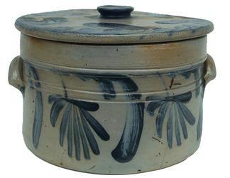 Stoneware Crock | stoneware lidded cake crock 19th century blue decorated stoneware ...