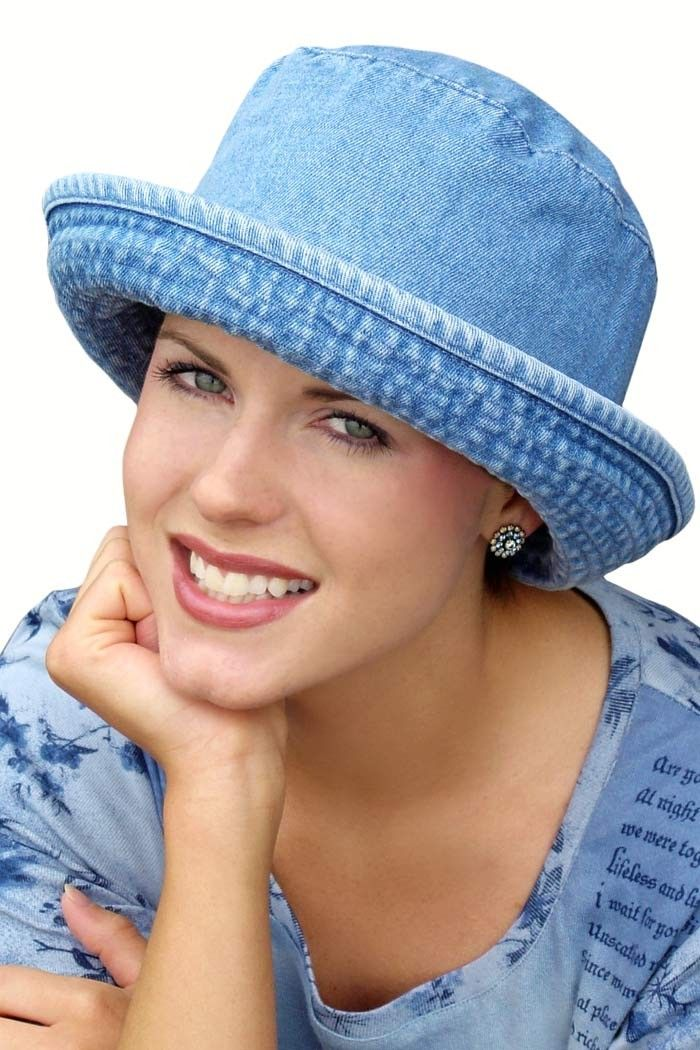 Denim Bucket Hat - Hats for Cancer, Chemotherapy, Chemo Patients. I want to try making a less deep version for fall.