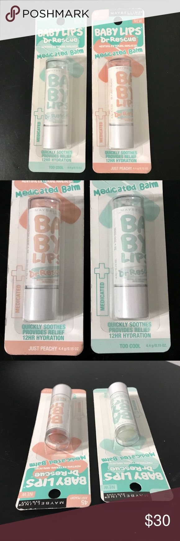Two (2) Baby Lips Dr. Rescue Medicated Lip Balm! Two brand new full-size Baby Lips Dr. Rescue medicated lip balm by Maybelline. Quickly soothes, provides relief, 12 hour hydration. Active ingredient menthol 0.5% for external analgesic. Included in this bundle are two flavors: TOO COOL #35 and JUST PEACHY #45. Maybelline Makeup Lip Balm & Gloss