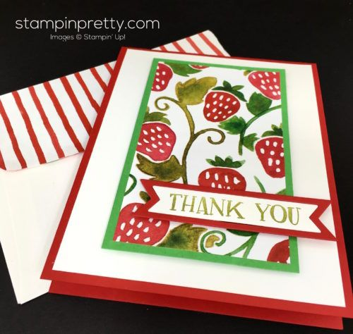 Fresh Fruit stamp set & Fruit Stand Designer Series Paper thank you card created by Mary Fish, Stampin' Up! Demonstrator. 1000+ StampinUp & SUO card ideas. Read more http://stampinpretty.com/2016/06/fruit-stand-thank-you-card.html