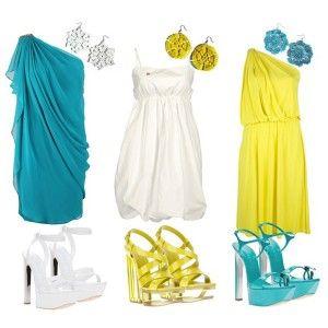 С чем носить бирюзовые босоножки: бирюзовое, белое или желтое платье