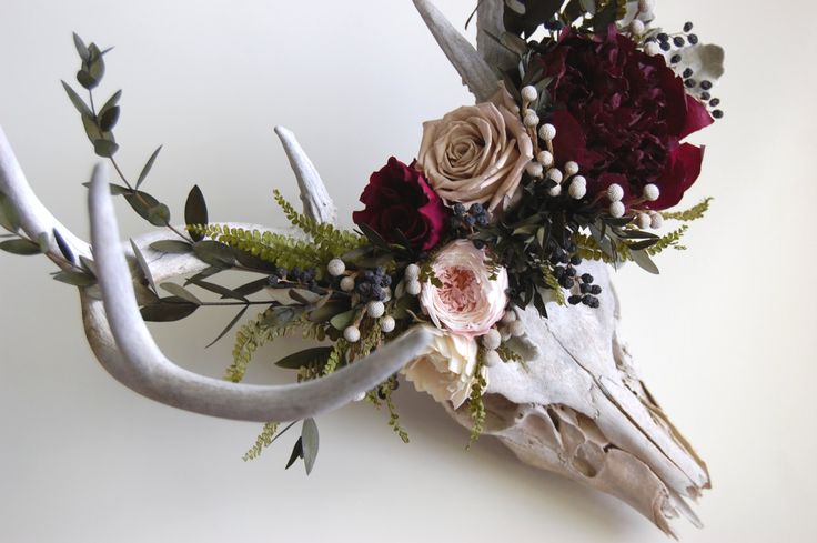 Deer Skull With Preserved Flower Crown Inspiration