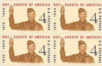 Boy Scouts of America Set of 4 x 4 Cent US Postage Stamps NEW by USPS. $2.25. One set of four (4)Boy Scouts of America  4 x 4 Cent postage stamps Scot #1145