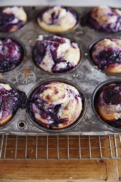 GF Blueberry Swirl Muffins from Silvana's Kitchen, gluten free, dairy free