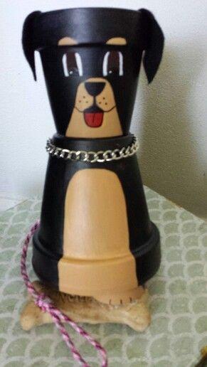 Clay pot rottweiler dog