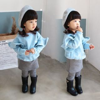 Kidora Kids Set: Ruffle Trim Pullover + Legging Inset Skirt Sky Blue