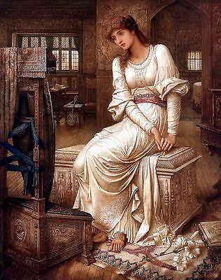 8x10 Print Medieval Witch Elaine Lady Shalott Arthurian Legend Camelot Weaver | eBay