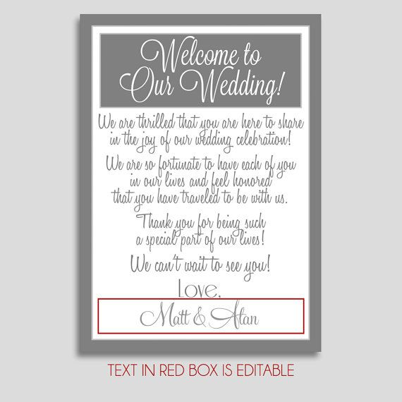 Wedding Welcome Letter Customized Welcome Letter by AModernSoiree