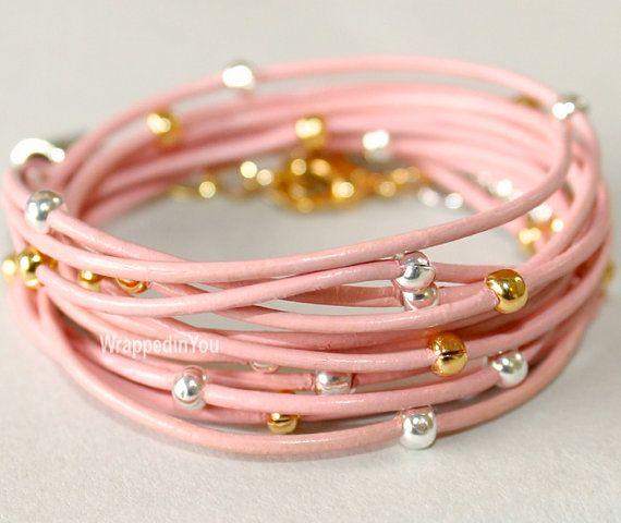 Boho TRIPLE Leather Wrap Bracelet Silver / Gold por WrappedinYou, $23.95