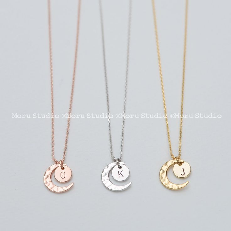 I Love You to the Moon & Back Necklace, Crescent Moon and Initial Disc, Minimalist, Wedding Gift, Bridal Shower, Gift for Her, NCR120 by MoruStudio on Etsy