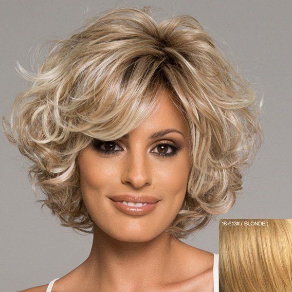 Bouffant Curly Capless Stylish Short Haircut Ladylike Side Bang Real Human Hair Wig For Women