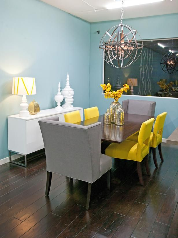 Eclectic Living Room With Gray Walls And Yellow Drapes The