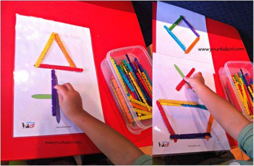 Match paddlepop sticks with shape pattern sheets.