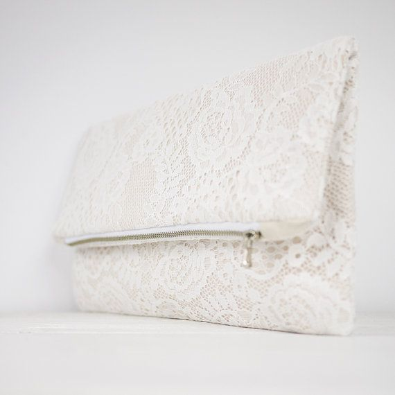 Nude lace clutch, fold over lace clutch, shabby chic wedding clutch