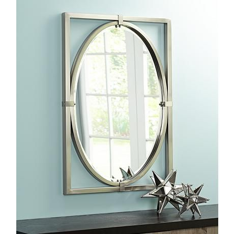 """Uttermost Kagami Brushed Nickel 23 3/4""""x34"""" Wall Mirror ..."""