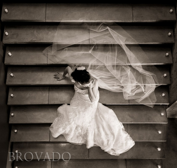 Moody sepia wedding veil staircase photo | Minneapolis Wedding Photography | Brovado Weddings
