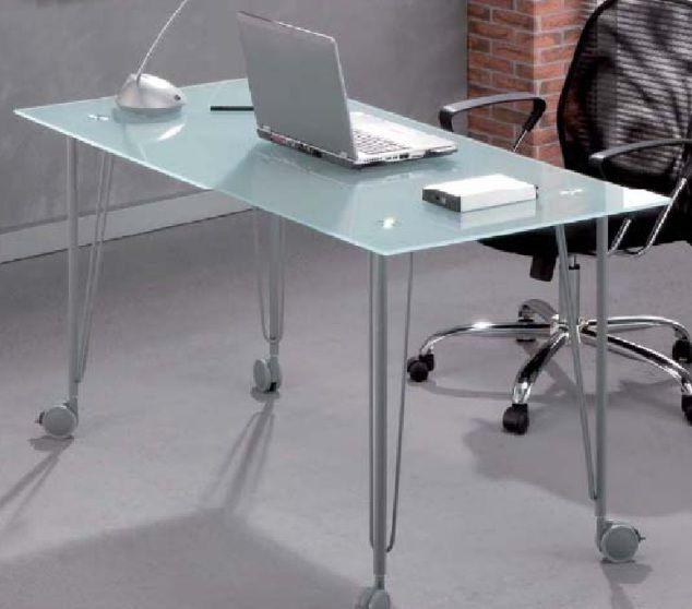 Modelo xate mesa de estudio con tapa de cristal for Patas con ruedas