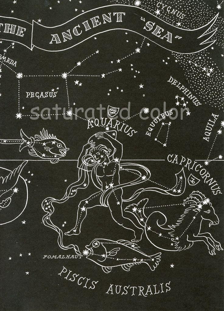 1948 Ancient Sea Constellations - Pisces Capricorn Aquarius - Night Sky Star Chart Map - Zodiac
