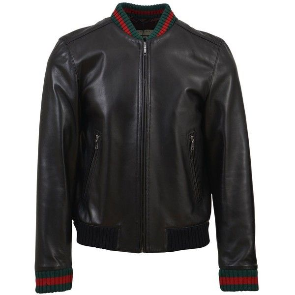 Black Leather Jacket (3,310 CAD) ❤ liked on Polyvore featuring men's fashion, men's clothing, men's outerwear, men's jackets, black, mens bomber jacket, mens zipper jacket, mens leather jackets, mens leather bomber jacket and gucci mens jacket