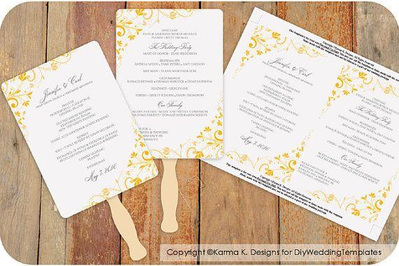 Modèle de programme de Fan - téléchargement de mariage instantanément - Bouquet Chic (moutarde) 5 x 7 - Microsoft Word Format sur Etsy, 6,03€