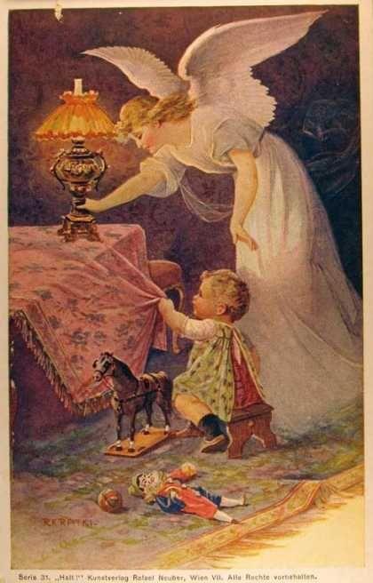 Ao anoitecer:                                                        Com Deus me deito, com Deus me levanto, com a graça de Deus e do Espírito Santo.  Nossa Senhora me cubra, com seu divino manto. Meu Anjo da Guarda, meu bom amiguinho, leve-me sempre para o bom caminho. Amém!
