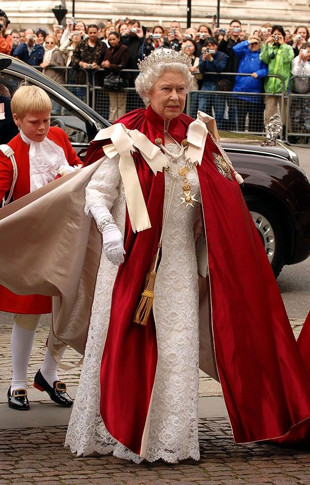 May 2006 Queen Elizabeth II attends the Order of the Bath service, dressed in traditional garments, and looking lovely. Credit: Anwar Hussein, Getty Images