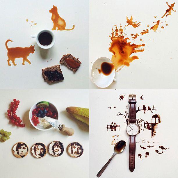 Искусство из пролитого кофе Если вдруг прольете ваш любимый кофе, то не спешите…