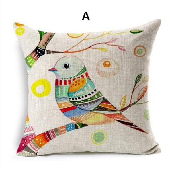 Painted bird throw pillow for home decoration 18 inch linen cushions