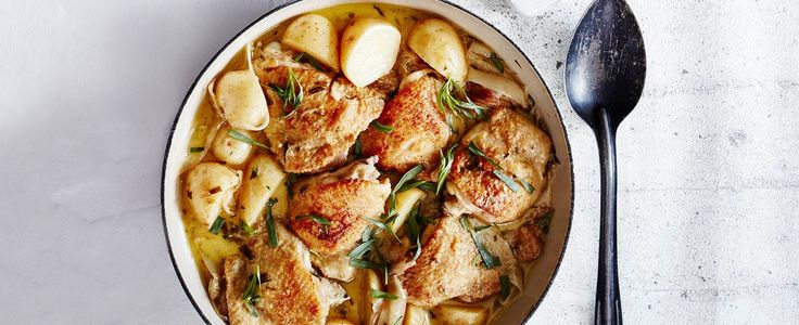 New potato, chicken and tarragon casserole