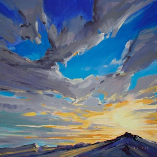 """'Big Sky over the Rockies' 24"""" x 24"""" acrylic on Canvas by Charlie Easton"""