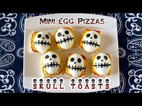 Halloween Skull Toasts (Mini Egg Pizzas) ハロウィン ドクロトースト(ミニ卵ピザ) の作り方 - OCH...