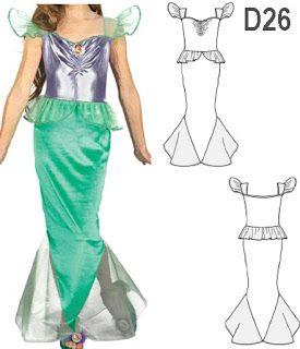 Disfraz de sirena con patrones para coser en casa |