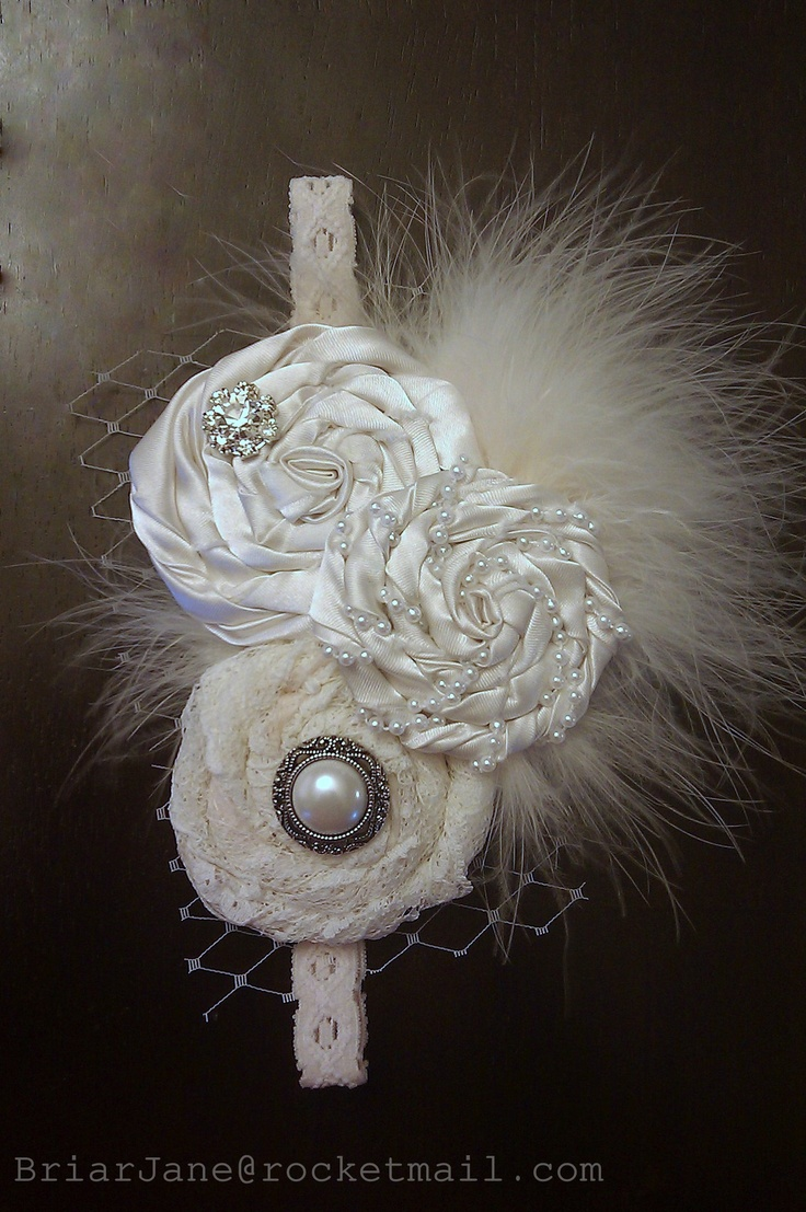 Ivory headpiece made for a baby dedication. If I have a girl the next time...Katherine could probably make this.