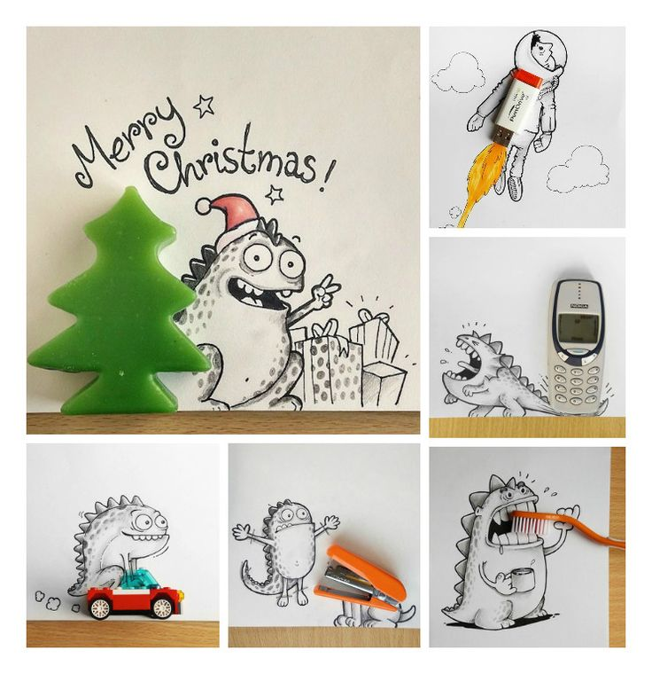 Lovely Doodles Interact with Real Life Objects by Manik and Ratan #Doodle, #Drawing, #Illustration, #Objects, #RealLifeObjects